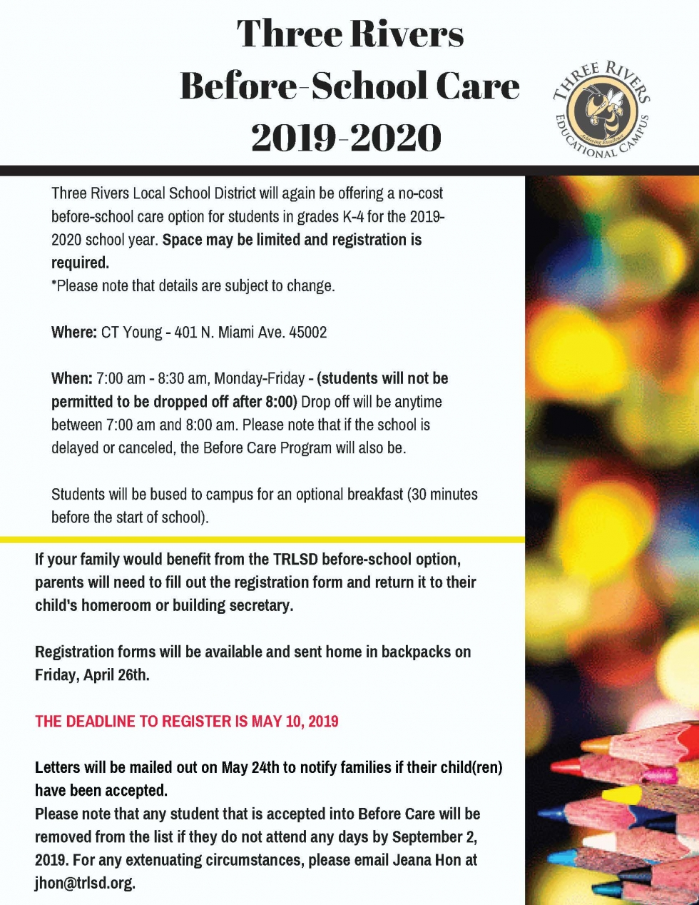 Before Care Program for grades K-4 for 2019-2020.
